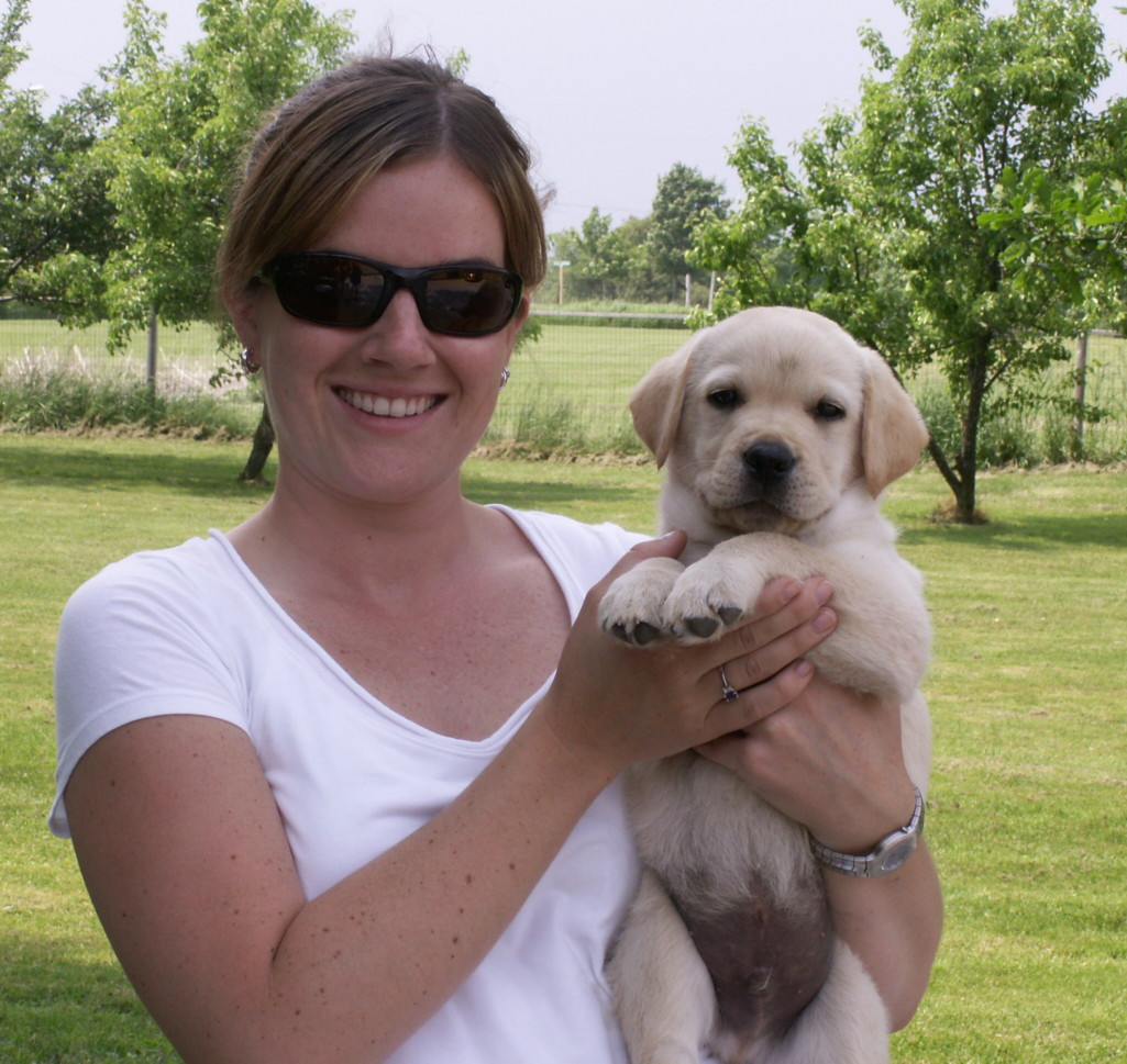 'Riley' and his new owner.