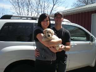 'Fletcher' with his new parents!